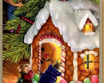 40x30cm gingerbread house and christmas mice diamond painting kit round partial drill fast sh