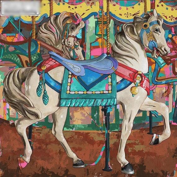 US Seller. 40x40cm Beautiful Carousel, Horses, Inspired Diamond Painting Kit Full Square Drills. Fast S&H
