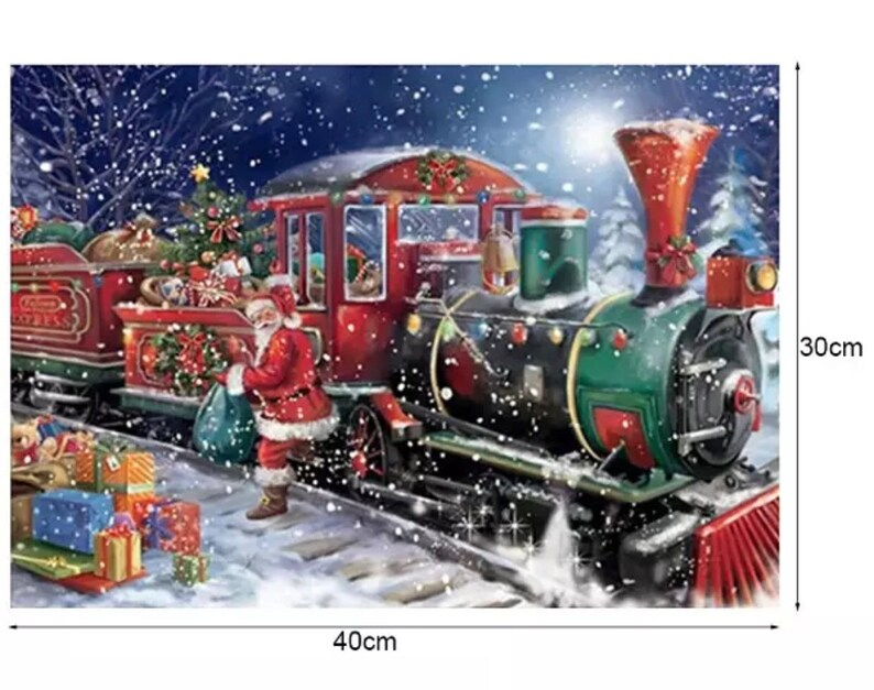 Christmas Train.Us Seller Santa S Christmas Train 5d Diamond Painting Kit Round Drills Partial Drill Combined Shipping To Save Approx 30x40cm