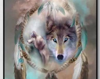 US Seller. Wolf, Wolves, Dream Catcher. 5D Diamond Painting Art Kit. Round drills, Full drill. Combined S&H. 30x40cm