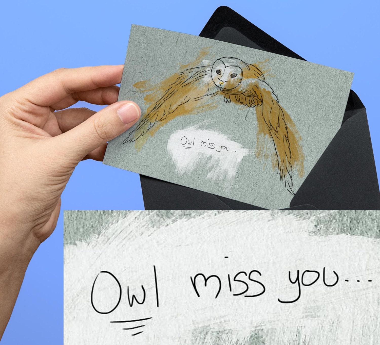 going away goodbye card owl miss you pun sketching art  etsy
