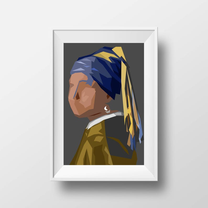 Girl with a Pearl Earring unique Vermeer abstract low poly minimalist print  art - shape classic - digital wall art