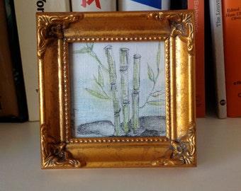 SOLD !! Square original miniature drawing.Zen landscape:Bamboo.Rocks on water.Fine art mini.Classic frame.Miniature art.Pencils Chalk pastel