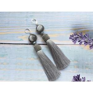 Beaded Silk tassel cascade earrings nude layered tassel earrings three layer tassel fringe boho earrings long bridal statement earrings