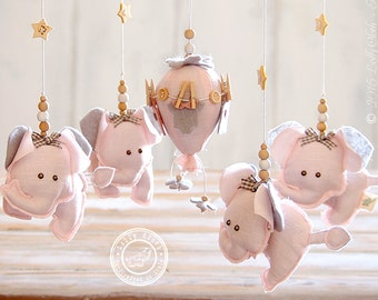 Girl Baby Mobile, Baby Girl Nursery Decor, Pink and Grey Nursery Decor, Elephant Nursery Mobile, Hot Air Balloon Mobile FREE 2-DAY DELIVERY