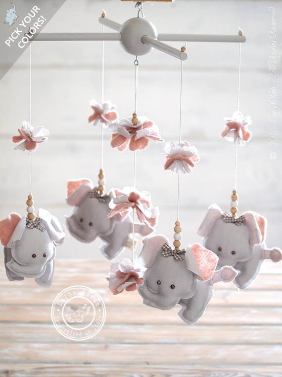 Grey Amp Pink Elephant Nursery Mobile Girl Gift For Girl Etsy