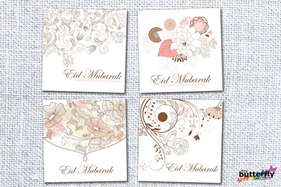 image about Eid Cards Printable identified as Printable Eid Mubarak Card Mounted, Electronic Down load, Preset of 4 Eid Playing cards, Islamic Greeting Playing cards