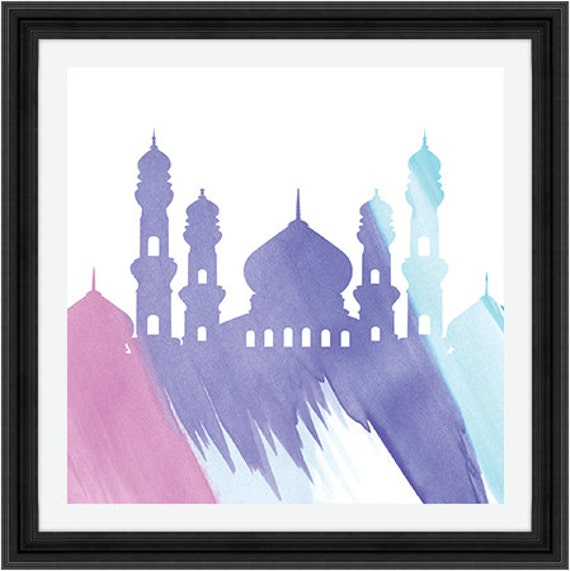 Water Colour Mosque Silhouette Instant Digital Download Etsy