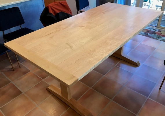 Curly Maple And Maple Trestle Table
