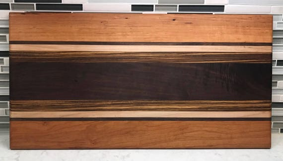 Charcuterie Board of Walnut, Cherry, Maple and Zebra Wood