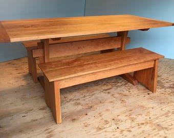 Cherry Trestle Table with Through Tenons