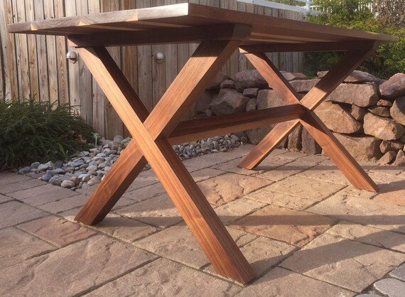 Walnut Crossbuck Trestle Table