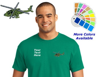 Personalized Mens T-Shirt with Apache Helicopter Embroidery Design and Custom Embroidered Text