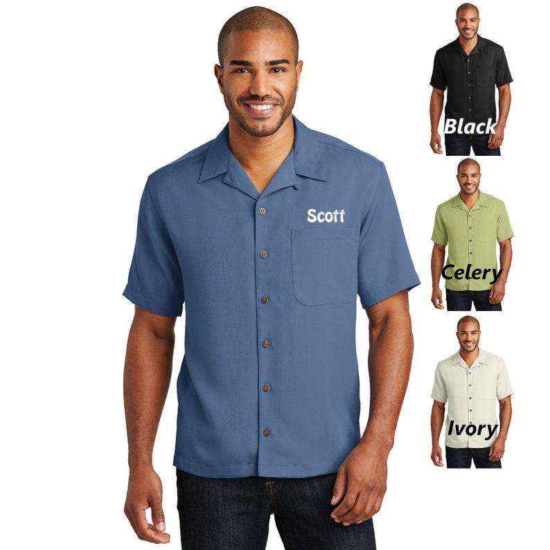 f0a0388bbf5fa Personalized Mens Dress Shirt, Camp Shirt, No Tuck, Business Shirt, Custom  Name, Short Sleeve, Button Down, Solid Color, Pocket Shirt
