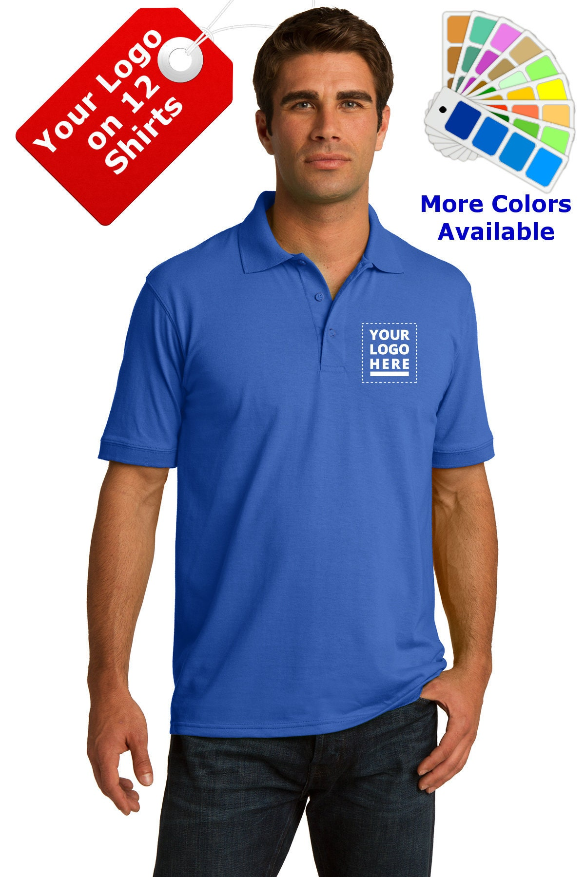 Custom Embroidered Polo Shirts with Company Logo for your Business School Organization or Church