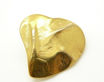 YSL French Vintage  Love Heart Brooch Pin Signed 1980s