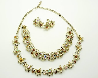 Jewelcraft Parure Crystal Necklace Bracelet and  Clip On Earrings Bridal
