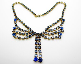 Vintage Blue Crystal and Gold Tone Necklace Choker