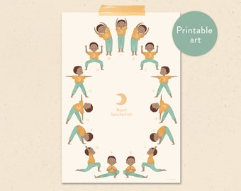 Moon salutation - yoga child printable poster - Chandra Namaskara