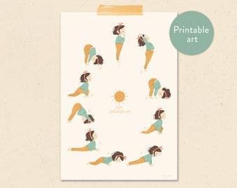 Sun salutation - yoga child printable poster