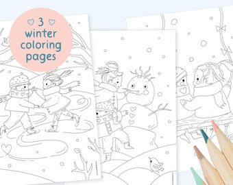 Coloring pages set - kids valentines day - fun winter activity