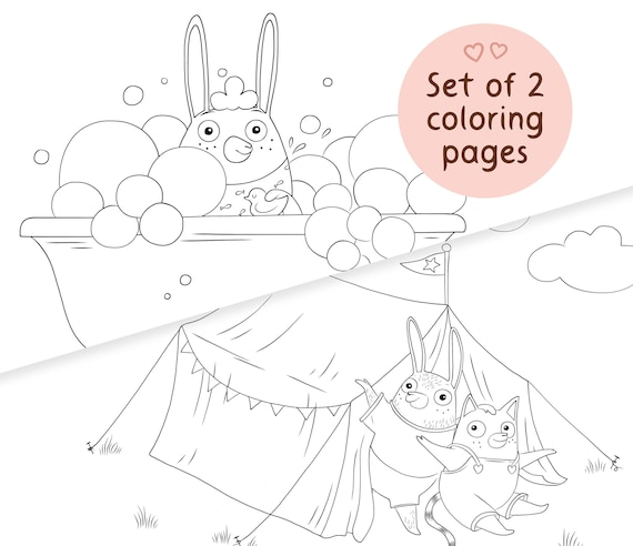 Printable Coloring Pages For Kids Animal Coloring Sheets Set Etsy