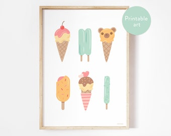 Ice cream printable poster - kids room and nursery print