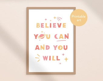Colorful typography inspirational wall art - Believe you can and you will