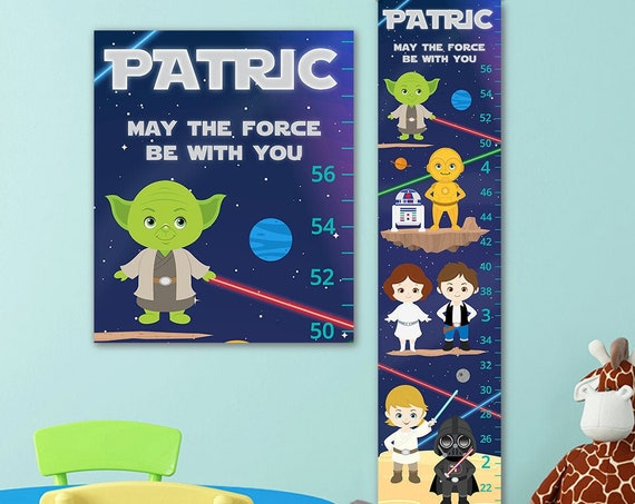 Star Wars Growth Chart - Personalized Canvas Growth Chart -  Star Wars Poster, Star Wars Baby, Star Wars Nursery, Star Wars Gift, StarWars