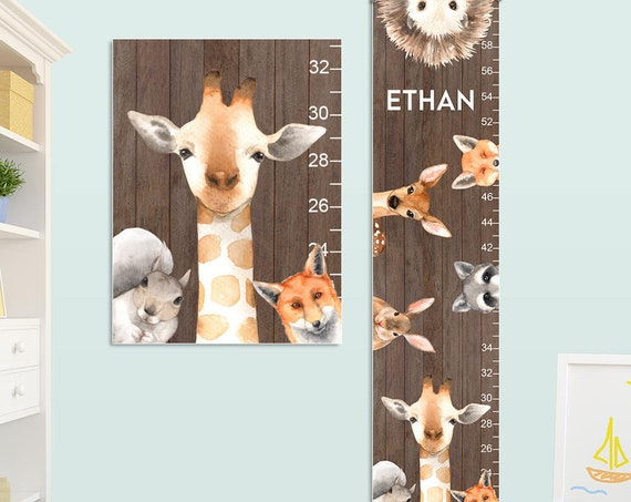 Giraffe Growth Chart - Personalized Canvas Growth Chart