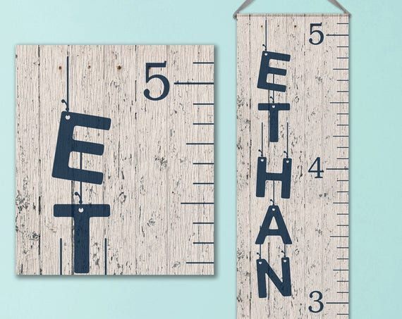 Boys Growth Chart - Canvas Personalized Growth Chart, Wooden Height Ruler, Personalized Baby Boy Gifts - GC0100N_Hang