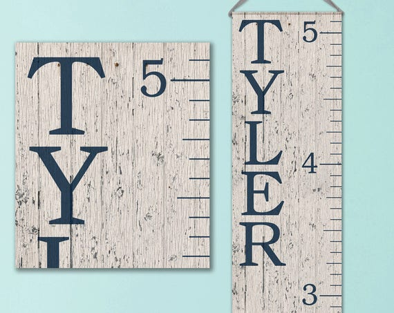 Growth Chart Ruler - Personalized Canvas Growth Chart - Wood Image - GC0100N
