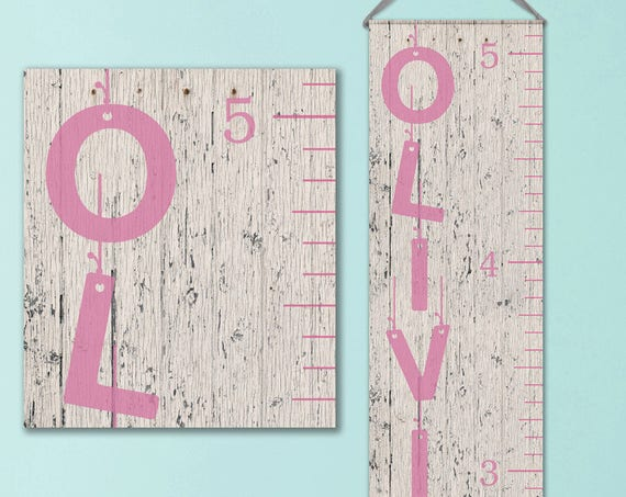 Girls Growth Chart - Canvas Growth Chart - Whitewashed Wood Image, Growth Chart Ruler, Personalized Growth Chart - GC0101P