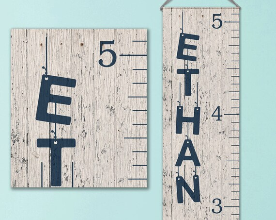 Boys Growth Chart - Canvas Personalized Growth Chart, Wooden Height Ruler, Personalized Baby Boy Gifts - GC0100N_46Hang