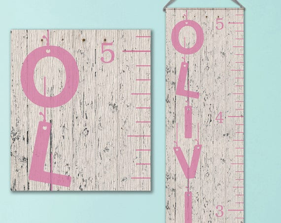 Pink Growth Chart Ruler - Whitewashed Wood Image, Girls Growth Chart - GC0101P