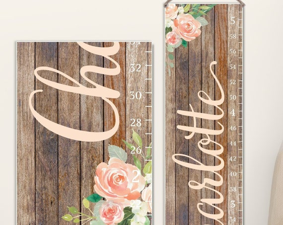 Floral Growth Chart on Canvas | Flowers Growth Chart | Floral Nursery Decor | Floral Nursery Wall Decor | Floral Nursery | Floral Name Sign