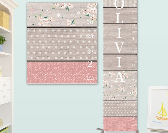 Personalized Canvas Growth Chart with Wood Pattern Design - Grey & Pink Nursery Decor