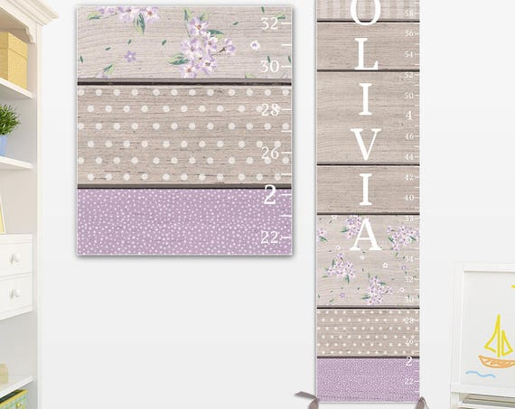 Lavender & Grey Growth Chart - Canvas Growth Chart with Wood Pattern Design I Lavender Growth Chart