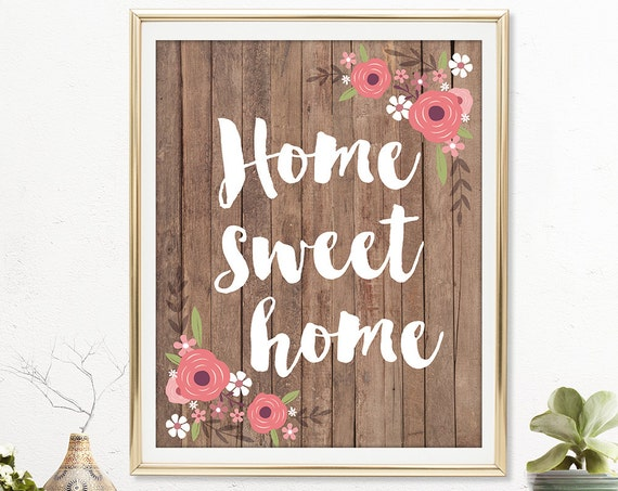 Home Sweet Home Art Print - Valentines Gift, Valentines Day Gift, Valentine, Quote Print, Anniversary Gift, Wedding Gift - QD0004S