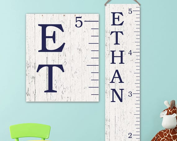 Growth Chart Ruler - Personalized Canvas Growth Chart, Growth Chart Navy, Wood Growth Chart Style, Boy Growth Chart