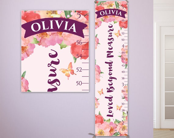 Loved Beyond Measure Growth Chart -  Personalized Canvas Growth Chart - Watercolor Flower Print, Growth Chart Girl, Height Chart - GC1002U