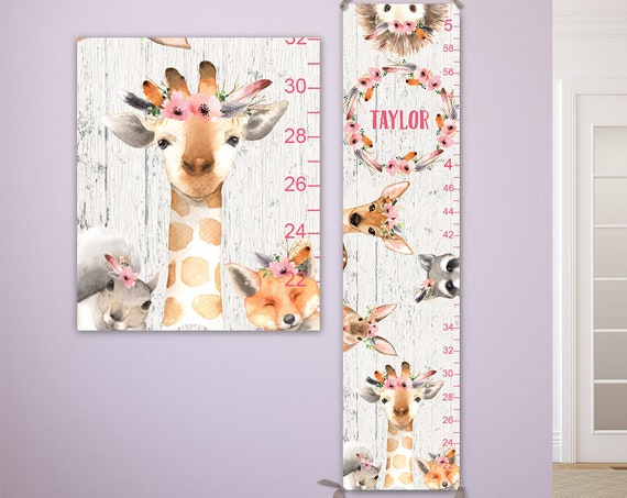 Giraffe Growth Chart for Girls - Personalized Canvas Growth Chart