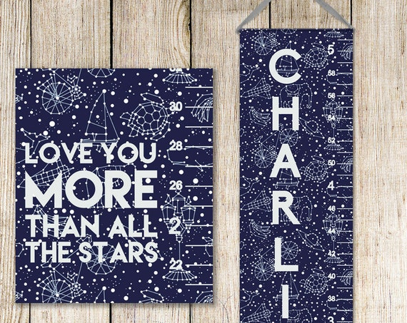 Constellation Growth Chart; Solar System Growth Chart - Personalized Canvas Growth Chart, Growing Chart, Grow Chart