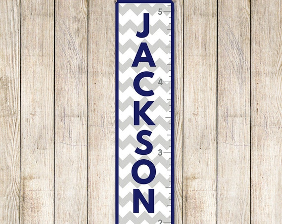 Chevron Growth Chart - Personalized Canvas Growth Chart | Grey and Navy Growth Chart | Boys Growth Chart