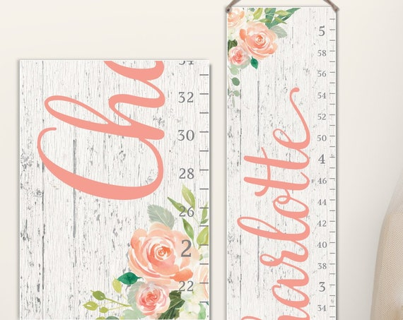 Floral Growth Chart on Canvas