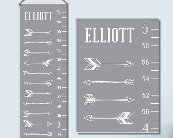 Arrows Growth Chart - Personalized Canvas Growth Chart, Grey Kids Art, Growth Ruler, Growth Chart Ruler - GC0003G