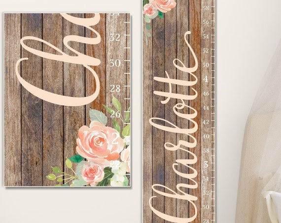 Floral Growth Chart  - Canvas Growth Chart | Floral Nursery Decor