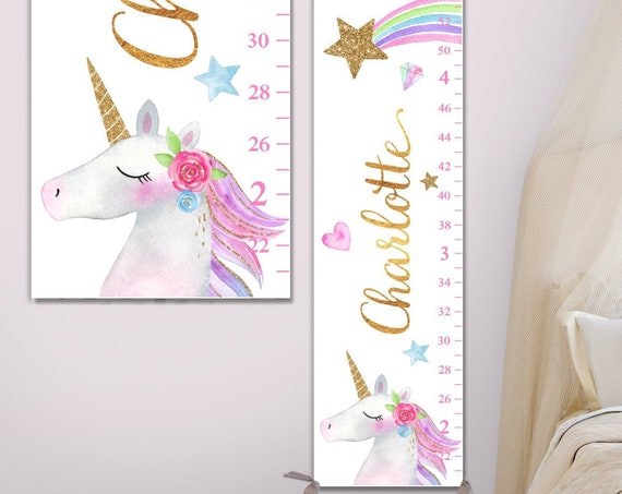 Unicorn Growth Chart on Canvas - Unicorn Nursery Decor, Unicorn Birthday, Unicorn Gift, Unicorn Girls Room Decor