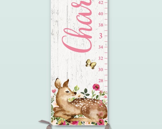Girls Growth Chart on Canvas - Woodland Nursery Decor, Personalize Growth Chart