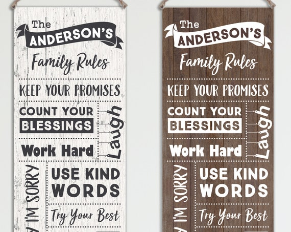 Family Rules Sign - Personalized on Canvas - Modern White or Brown Wood Image: CG11